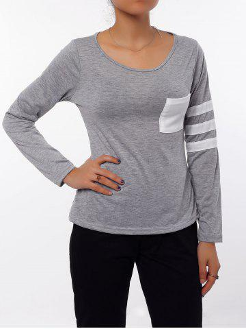 Fashion Charming Scoop Neck Color Block Striped Sleeve T-Shirt For Women GRAY S