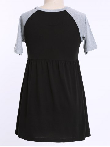 Fancy Casual Raglan Sleeve Color Block Plus Size T Shirt Dress