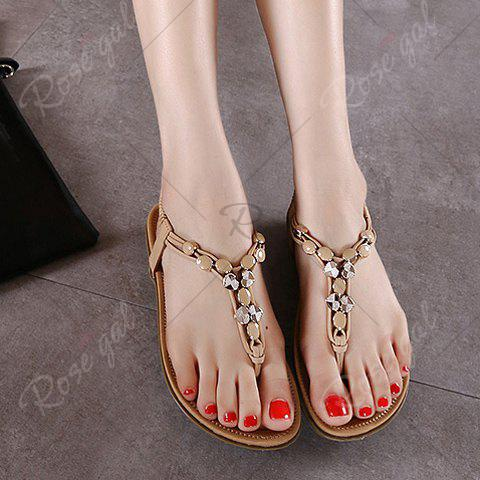 Latest Leisure Metallic and Elastic Design Sandals For Women - 40 APRICOT Mobile
