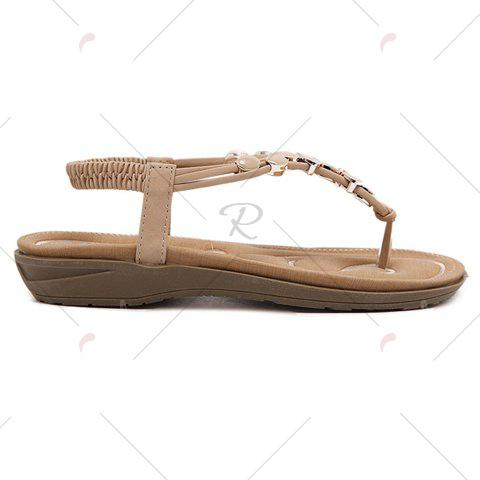 Outfits Leisure Metallic and Elastic Design Sandals For Women - 40 APRICOT Mobile
