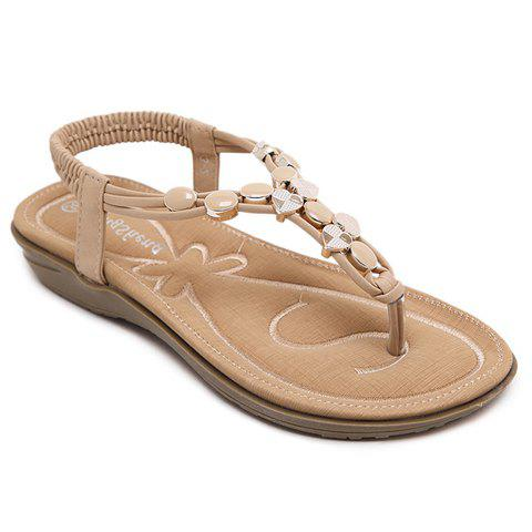 Outfit Leisure Metallic and Elastic Design Sandals For Women APRICOT 38
