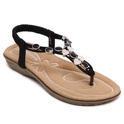 Hot Leisure Metallic and Elastic Design Sandals For Women - 40 BLACK Mobile