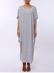 Asymmetric Maxi Striped Casual Slit Dress - WHITE AND BLACK