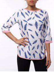 Casual Leaf Printed 3/4 Sleeve Cut Out Blouse For Women - WHITE XL