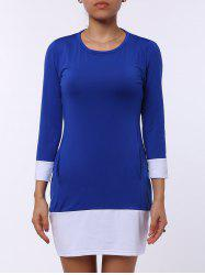 Casual Scoop Neck Color Block Long Sleeve Mini Dress For Women - SAPPHIRE BLUE