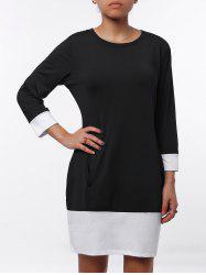 Casual Scoop Neck Color Block Long Sleeve Mini Dress For Women - BLACK