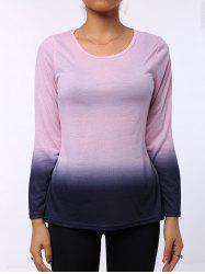 Stylish Round Neck Long Sleeve Ombre Color Women's T-Shirt - PINK