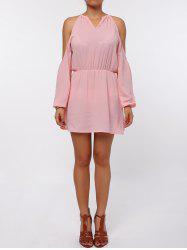 Cold Shoulder Long Sleeve Chiffon Dress - PINK