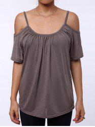 Simple Scoop Neck Short Sleeve Off-The-Shoulder Solid Color Women's T-Shirt - KHAKI