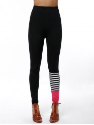 Active Elastic Waist Slimming Color Block Pants - BLACK
