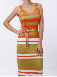 U-Neck Striped Sleeveless Striped Dress