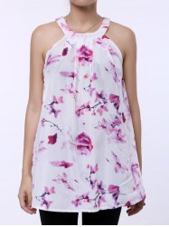 Fresh Style Jewel Neck Sleeveless Floral Print Women's Dress - PINK AND WHITE