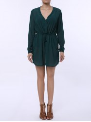 Stylish Plunging Neck Long Sleeve Pure Color Lace-Up Women's Dress - GREEN M