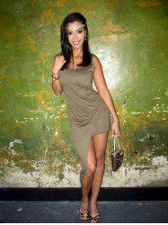 Sexy U Neck Sleeveless Solid Color High-Low Hem Dress For Women -
