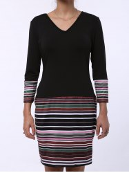 V-Neck Striped Long Sleeve Dress - BLACK
