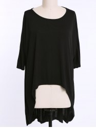 Casual Scoop Neck Solid Color High-Low Hem Plus Size 3/4 Sleeve T-Shirt For Women - BLACK