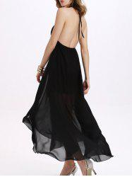 Open Back Prom Halter Neck Long Formal Dress - BLACK M