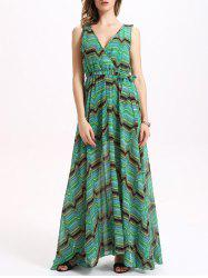 Chic Women's V Neck Sleeveless Green Print Dress