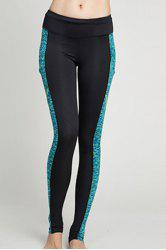Sports Style Women's Skinny Pocket Design Mesh Spliced Printed Yoga Pants