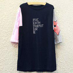 Chic Round Neck Half Sleeve Letter Print Appliqued Women's T-Shirt -