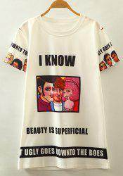 Chic Round Neck Short Sleeve Cartoon Character Print Women's T-Shirt -