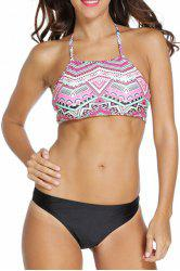 Stylish Spaghetti Straps Tribal Print Bikini Set For Women