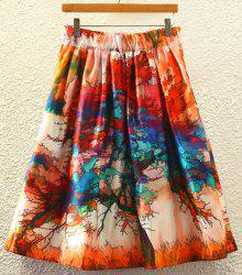 Stylish High Waist Printed Women's A-Line Skirt - JACINTH