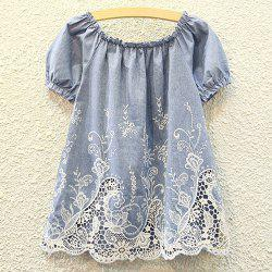 Cutwork Ruffle Tiny Floral Embroidered Blouse - DENIM BLUE