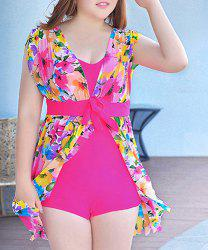 Fashionable Plus Size Floral Print One Piece Women's Swimwear -