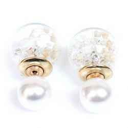 Pair of Glass Ball Faux Pearl Rhinestone Stud Earrings