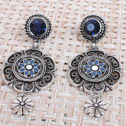 Pair of Hollow Out Rhinestone Flower Earrings