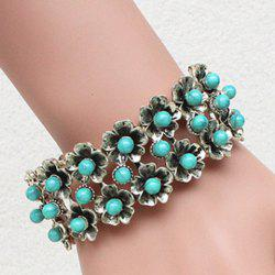 Stylish Faux Turquoise Flowers Elastic Bracelet For Women