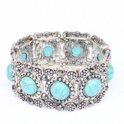 Round Faux Turquoise Carving Bracelet -