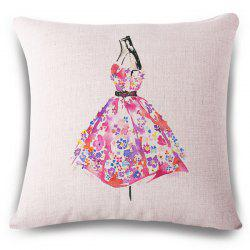 Creative Floral Dress Watercolor Pattern Square Shape Flax Pillowcase (Without Pillow Inner)