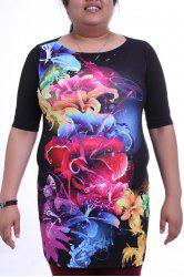 Elegant Round Collar 3/4 Sleeve Colorful Floral Print Plus Size Dress For Women