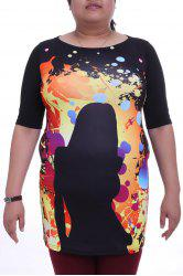Stylish Round Collar 3/4 Sleeve Figure Pattern Plus Size Colorful Dress For Women -