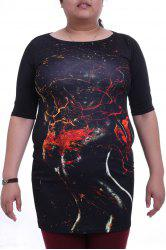 Stylish Round Collar 3/4 Sleeve Abstract Figure Print Plus Size Dress For Women -
