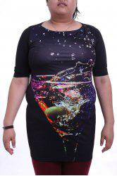 Graceful Round Collar 3/4 Sleeve Colorful Printed Plus Size Dress For Women -