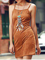 Stylish Suede Lace-Up Cami Dress For Women -