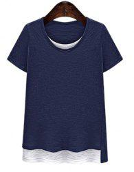 Casual Plus Size Scoop Collar Short Sleeve Hit Color T-Shirt Faux Twinset For Women -