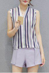 Fashionable V Neck Sleeveless Striped Top + Solid Color Shorts Twinset For Women