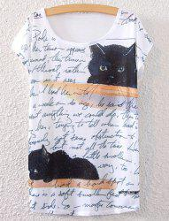 Short Sleeve Kitten Print T-Shirt - WHITE ONE SIZE(FIT SIZE XS TO M)