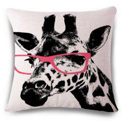 Creative Giraffe Pattern Square Shape Flax Pillowcase (Without Pillow Inner) -