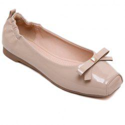 Sweet Bowknot and Square Toe Design Flat Shoes For Women