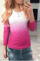 Casual Scoop Neck Long Sleeve Ombre Lace-Up T-Shirt For Women
