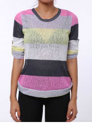 Trendy Scoop Neck 3/4 Sleeve Striped Colored Women's T-Shirt