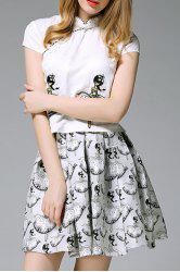 Chinese Frog Tee and Printed Skirt Twinset -