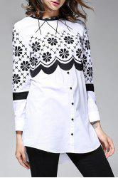 Embroidered Long Sleeve Blouse -