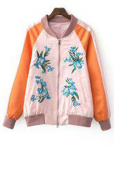 Stylish Stand Neck Long Sleeve Fitting Floral Embroidery Women's Jacket -