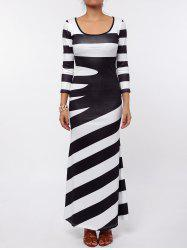 Maxi Scoop Neck Striped Evening Dress
